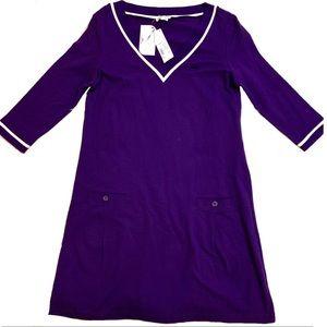 NWT Lacoste Purple V Neck Knit Dress Size 14